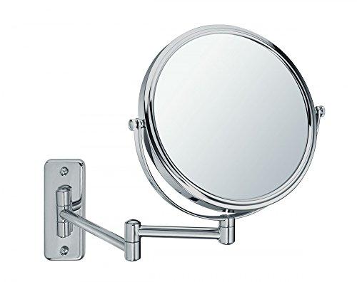 Sanwood BEA - Specchio da Trucco a Parete, Satinato, Visione Normale su Un Lato e ingrandimento 5X sull'altro