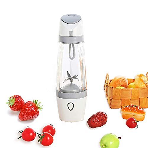 Licuadora de jugos portátil: batidora de vacío USB/mezcladora de hielo para frutas personal Trituradora de vasos/coctelera de proteínas con baterías de 3000mAh, 200 vatios / 22,000 rpm,Gray