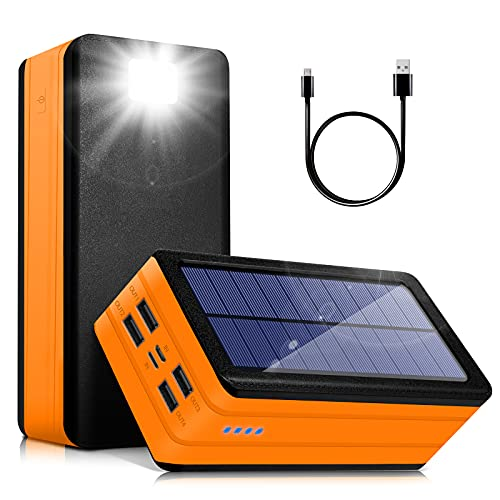 Solar Power Bank 50000mAh, Portable Solar Phone Charger with Flashlight, 4 Output Ports, 2 Input Ports,Waterproof, Compatible with Smartphone, Tablet, for Camping, Hiking, Trips and Home Emergencies…