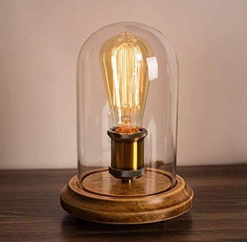MGWA Lámpara de Mesa Lámpara De Escritorio Vintage Loft De Madera Sólida Lámpara De Mesa De Noche Nórdica Cafe Glass Shade Accesorios De Iluminación E27, Cobre, A