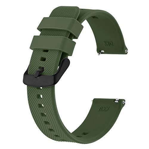 BISONSTRAP Correa de Reloj 18mm, Correas de Silicona de Liberación Rápida para Hombres y Mujeres (Verde Militar)