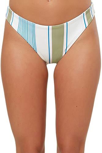 O'NEILL Women's Carly Stripe Brazilian Bikini Bottom Vanilla M