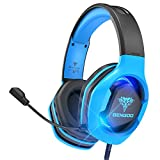 BENGOO G9500 Gaming Headset Headphones for PS4 Xbox One PC Controller, Over Ear Headphones with 720°Noise Cancelling Mic, LED Light, Adjustable Soft Memory Earmuffs for Laptop Nintendo Switch - Blue