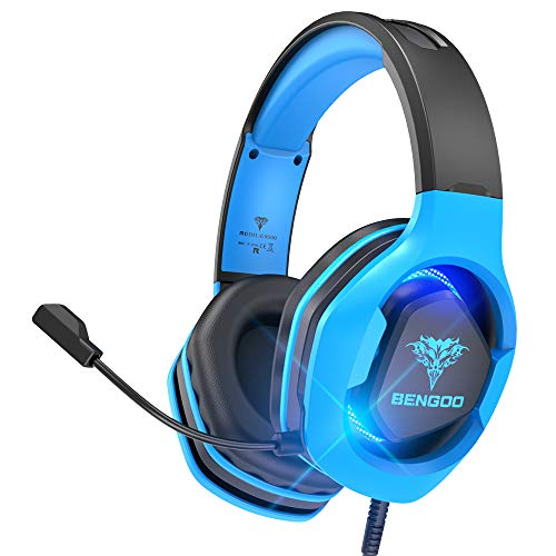 BENGOO G9500 Gaming Headset Headphones for PS4, Xbox One, PC Controller, Over Ear Headphones with 720°Noise Cancelling Mic, LED Light, Adjustable Soft Memory Earmuffs