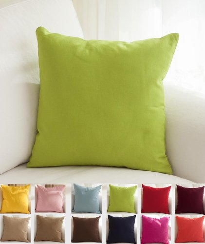 "TangDepot Cotton Solid Throw Pillow Covers, 14"" x 14"" , Apple Green"