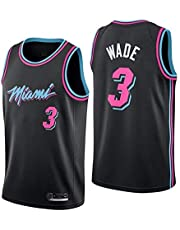 Shelfin - Camiseta de baloncesto de la NBA de Miami Heat del número 3 Wade, transpirable, grabada, color Negro D, tamaño Medium