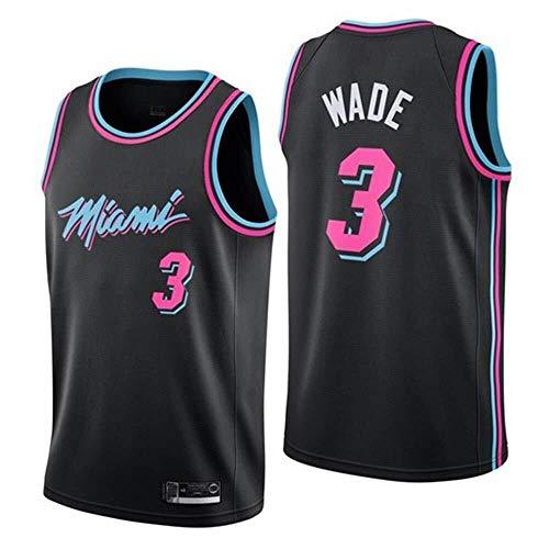 Shelfin - Camiseta de baloncesto de la NBA de Miami Heat del número 3 Wade, transpirable, grabada, color Negro D, tamaño Small