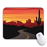 Mabby マウスマット - 240 x 200mm,Landscape Desert Sunset Arizona Canyon Grand Highway Road Utah,for Office and Gaming,Computer Mousepad Non-Slip Rubber Base