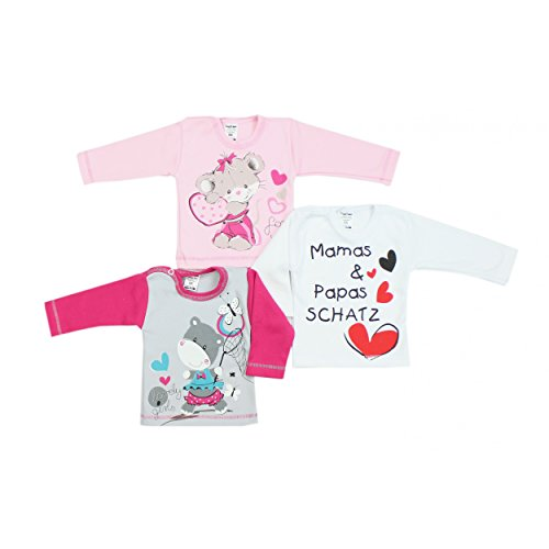 TupTam Unisex Baby Langarmshirt mit Spruch Aufdruck 3er Set, Farbe: Mädchen, Größe: 74