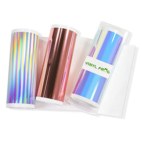 VinyLFROG - Juego de 3 hojas de vinilo cromado, adhesivo permanente, 3 colores (blanco ópalo, cromo oro rosa, plata holográfica brillante), paquete de vinilo para manualidades de 13,9 x 61 cm