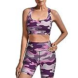 AuHomea Conjunto de 2 piezas de yoga de camuflaje púrpura rosa para mujer - - Large