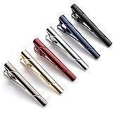 QIMOSHI 6 Pcs Tie Clips for men Tie Bar Clip Set for Regular Ties Necktie Wedding Business Tie Pin Clips