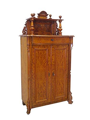 Vertiko Anrichte Schrank mit Aufsatz Louis Philippe um 1870 Birke B: 98cm (8584)