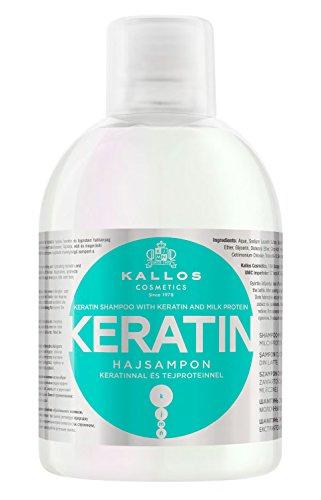 Kallos Keratin Shampoo und Milchprotein für trockenes, brüchiges chemisch behandeltes Haar, 4er Pack (4 x 1000 ml)