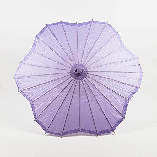 "Quasimoon PaperLanternStore.com 32"" Lavender Paper Parasol Umbrella, Scallop Shaped"