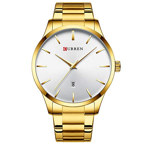 Relojes para Hombre Relojes de Cuarzo analógicos con Fecha Impermeable de Acero Inoxidable-C