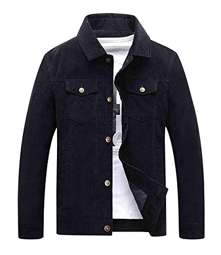 Mens Vintage Button-Front Slim Fit Corduroy Navy Blue Denim Jacket