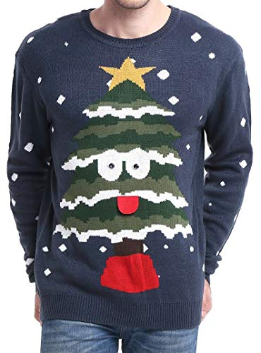 Daisysboutique Men's Holiday Reindeer Snowman Santa Snowflakes Sweater (Large, Tree)