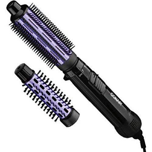"""Conair 2 in 1 Hot Air Brush, with 1.5"""" Aluminum Barrel and 1"""" Natural Boar and Nylon Bristle Brush Attachment, with Cool Tip, and Safety Stand, and Three Position Switch, with Tangle Free Cord"""