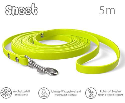 SNOOT 5m Schleppleine, Neon-Gelb, extra schmal, 10mm breit - zugfeste, schmutz- und Wasserabweisende Hundeleine mit Handschlaufe