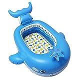 FXQIN Aufblasbarer Baby-Pool - Wal-Cartoon-Form, Kinderschwimmboot Schwimmendes Wasserbett Spielzeug, Badebecken, für Kid Boy Girl (blau)