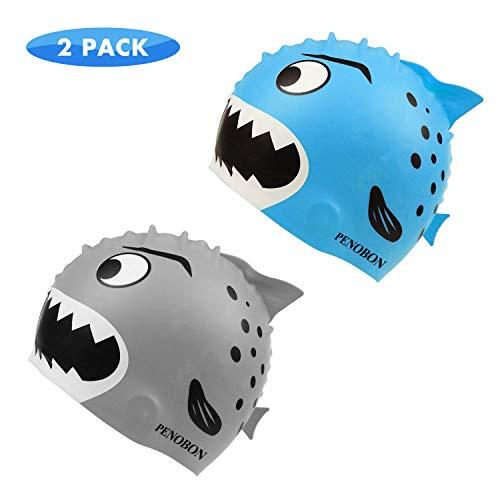 penobon Kids Swim Cap 2 Pack, Fun Silicone Swim Caps for Boys and Girls, Fit for Children 3-12