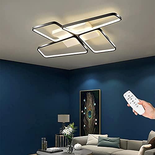 Waqihreu candelabro,luz de Techo LED,lámpara de Techo LED de Dormitorio Regulable,iluminación de Techo acrílica Moderna Creativa de 4 Anillos,para Salas de...