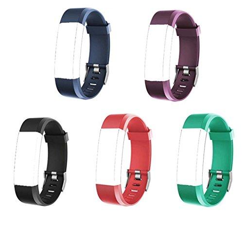 YFish Conjunto Correa Silicona de Reemplazo Ajustable para Pulsera de Actividad Inteligente Modelo ID 115 Plus HR -- (Negro+ Azul oscuro+ Rojo+ Azul verde+ Violeta)