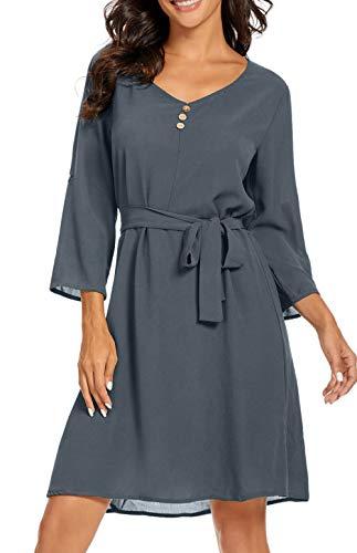 ZIYYOOHY Damen Casual Blusenkleid Chiffon Button V-Ausschnitt 3/4 Ärmel Freizeit Mini Sommerkleid Mit Gürtel (S, Grau)