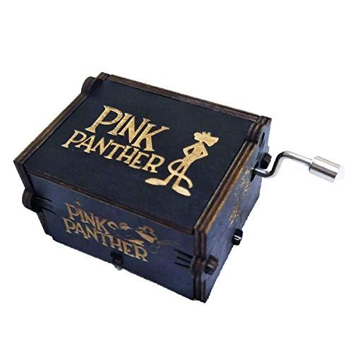 Caja de música de pantera rosa caja musical de manivela de mano tallada madera regalos musicales, jugar tema de pantera rosa (negro)