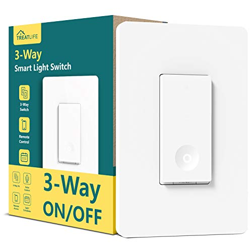 Treatlife 3 Way Smart Switch, Smart Home WiFi Light Switch Works with Alexa and Google Assistant, Neutral Wire Required, Remote Control, ETL Certified, 1 Pack