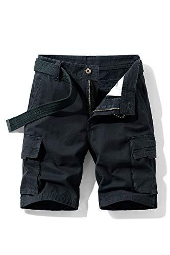 Pantaloni Uomo Corti Bermuda Pantaloni Ragazzo Cargo con Tasche Laterali (Nero, XL)