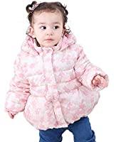 COTTON FAIRY Baby Girls' Star Print Fleece Lined Hoodie Winter Coat 18 Months Pink