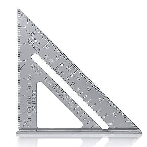 Escuadra de Carpintería Métrico 7 Pulgadas,Aleación de Aluminio,Regla Triangular Herramienta de medición para Carpintero (gris)