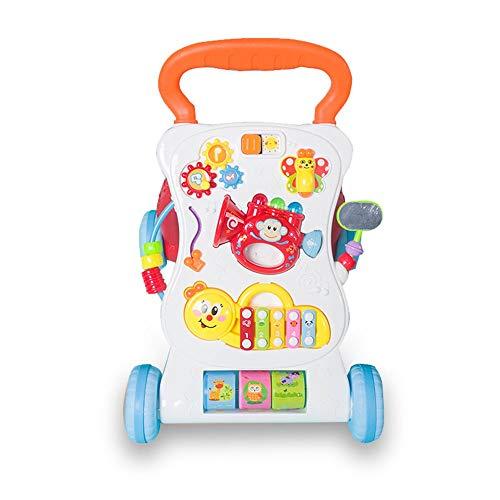 Toy Roll Push et Pull Early Child Education Multifonctionnel Anti-renversement Musique Walker Bébé Bébé 0-2 Ans Toddler Cart Enfant en bas âge éducatif ( Couleur : Orange , Taille : 47*44*34CM )