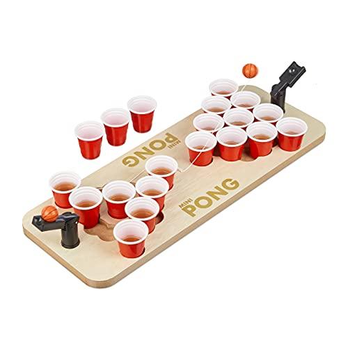 Relaxdays Mini Beer Pong, Trinkspiel Set, 25 rote Becher, 4cl, Bier & Shots, für unterwegs, HxBxT: 9x58x20 cm, Natur