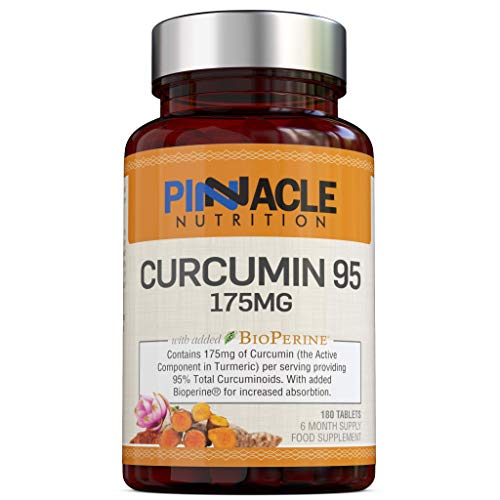 Curcumin 95 + Bioperine | 175mg x 180 Tablets | Turmeric Extract containing Curcumin (The Active Compound in Turmeric) with 95% Curcuminoids and Bioperine (Black Pepper Extract) |