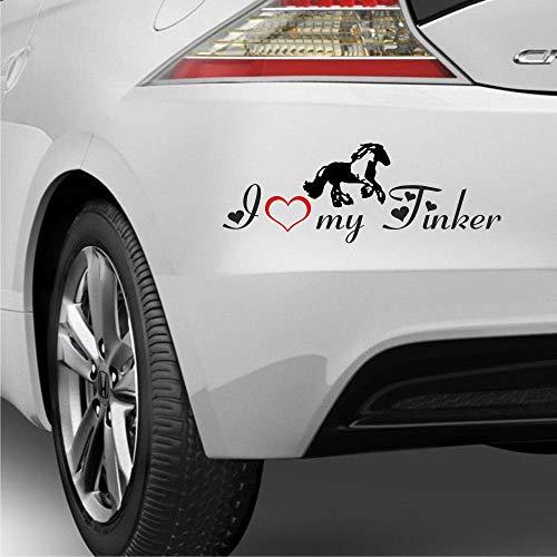 Pegatina Promotion Aufkleber Pferde Silhouette Typ2 ca 30cm mit Schriftzug I Love My Tinker 2fabig Herz Liebe reiten Reitsport