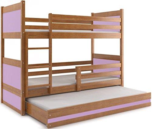 Cama Triple, Rico 190* 80, cama a Castillo con el tercer Cuna Extraíble, dormitorio para niños y jóvenes, colchonetas de espuma () violeta