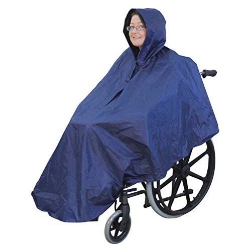 Rollstuhl wasserdichte Poncho für Erwachsene-Regen Schutz Cape, Ultraleicht wasserdichte Rollstuhl Regen Abdeckung Regenmantel mit Kapuze, vollständige Abdeckung Unisex Regenbekleidung