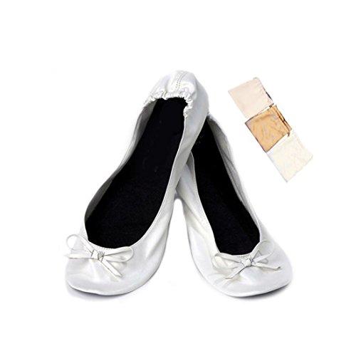 Lote de 20 Bailarinas Manoletinas Plegables Blancas para Bodas en Bolsa de...