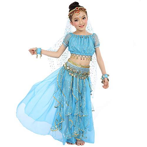 Magogo Mädchen Bauchtanz Kostüm Geburtstagsparty Kostüm, Kinder Cosplay Arabische Prinzessin Dancewear Glänzende Karneval Outfit (S, Hellblau)