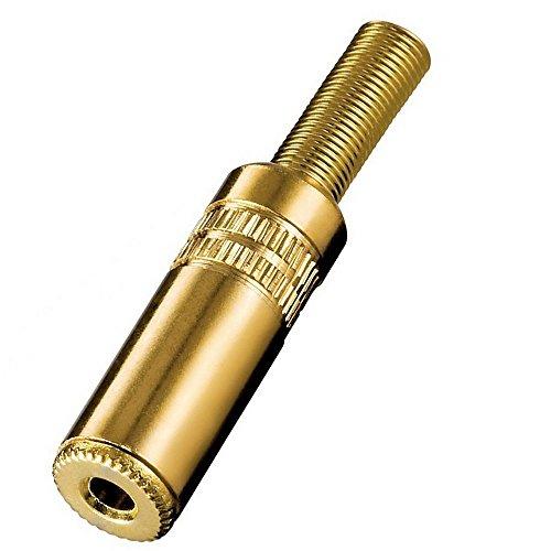 erenLine® 3,5 mm Profi-Klinkenkupplung, Klinkenbuchse Stereo; 3-polig; Vollmetall; vergoldet; mit Knickschutz; Lötausführung