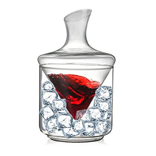 POMNGYUIL Decantador de whisky,Decantador de vino,Decantador de cubo de hielo de cristal de 1000 ml,Aireador de botella de champán de vino tinto
