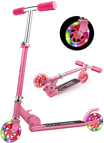 Exhoper Scooter for Kids Ages3+, Boys Girls Scooter with 2 Lighted Up Wheels, Lightweight Folding Scooter with 3 Adjustable Handlebar Rear Brake