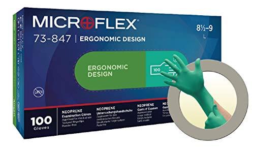 Microflex Ansell 73-847 / 7.5-8 Mehrzweckhandschuhe, Chemikalien und Flüssigkeitsschutz, Größe 7,5-8, Grün (100 Handschuhe pro Spender)