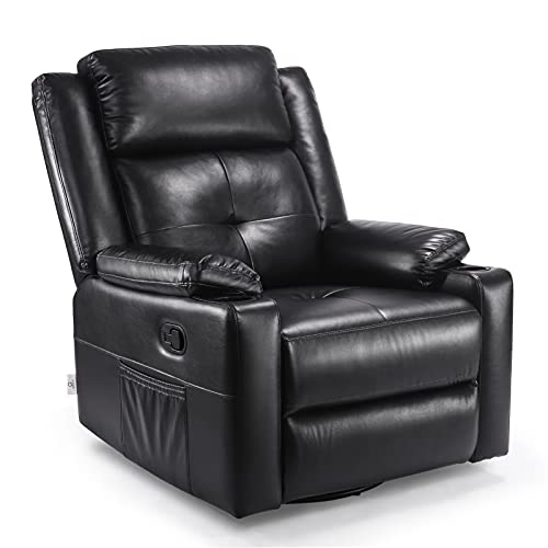 PU Leather Recliner Chair, Manual Rocker Recliner 360 Degree Swivel Recliner Heavy Duty, Ergonomic Lounge, Dual Drink Holders, Side Pocket, Living Room Chair/Home Theater (Black)
