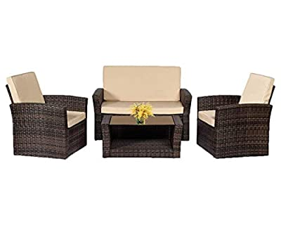 4 Pieces Outdoor Patio Furniture Sets Sectional Sofa Rattan Chair Wicker Conversation Set Outdoor Backyard Porch Poolside Balcony Garden Furniture with Coffee Table (Brown)