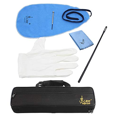 Mowind 16 Holes C Flute Case 600D Foam Cotton Padding with Flute Cleaning Kit Set Cleaning Cloth Stick Cork Grease Screwdriver Gloves