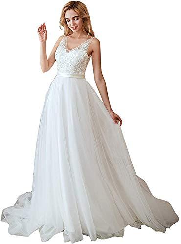Ikerenwedding Women's V-Neck A-line Lace Tulle Long Wedding Dress for Bride (US6, Ivory-2)